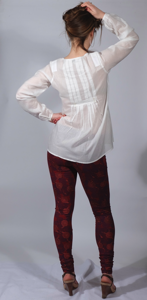 Organic woven Cotton Women's Shirt, Fair-trade made, with Ballerina Leggings