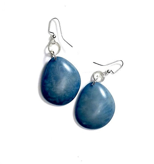 Eco-friendly jewelry Renewable tagua nut earrings, Aleta Bluebird, Upland Road | Eco-Boutique