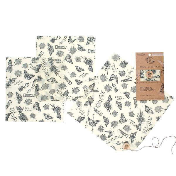 Bee's Wrap Explorer Pack - 1 Large Lunchwrap & 2 Medium Wraps in Monarch Butterfly Print