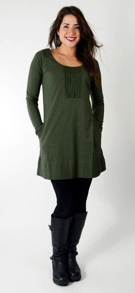 Eterna organic cotton Tunic/ Dress with pockets - Khaki Melange