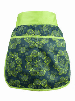 Women's eco-friendly half apron, organic cotton apron in lime print, made in USA