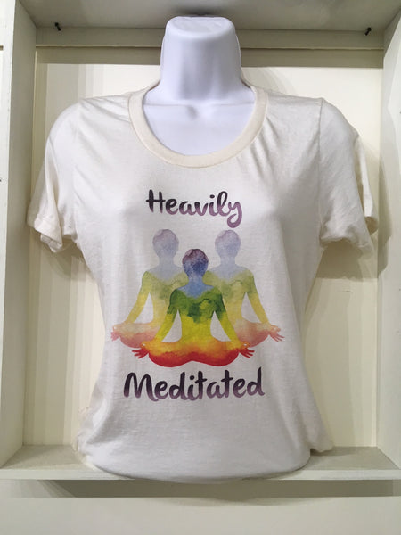 Heavily Meditated women's t-shirt, on natural, undyed 100% organic cotton