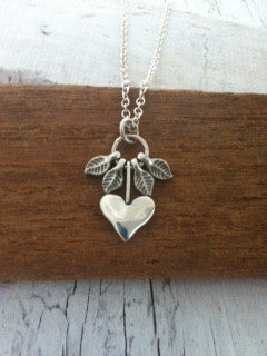 Silver Heart Necklace with moving leaves - recycled silver