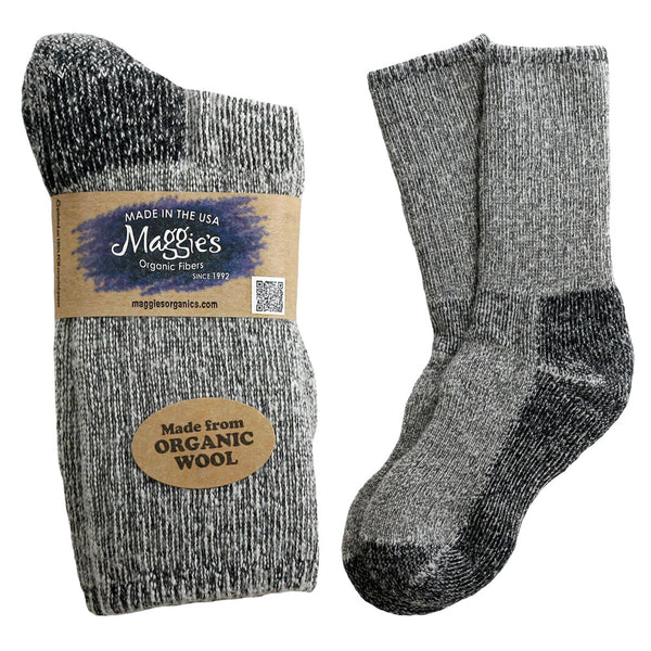 Organic Wool Killington Mountain Hiking Socks, Maggie's Organics, Black heather