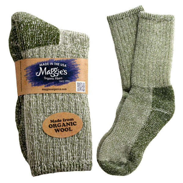 Organic Wool Killington Mountain Hiking Socks, Green