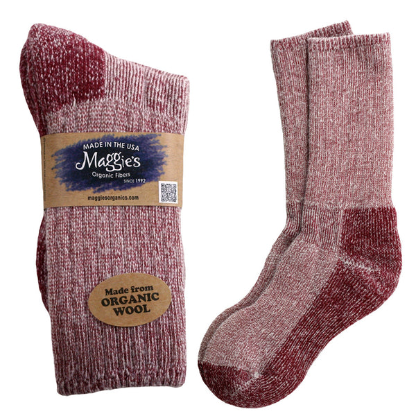 Organic Merino Wool Killington Mountain Hiker Sock, Maggie's Organics, Raspberry