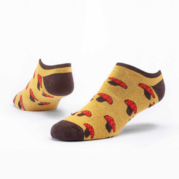 Mushroom Design Organic Cotton Striped Cush Footie Socks - in Mushroom Grey or Honey Yellow