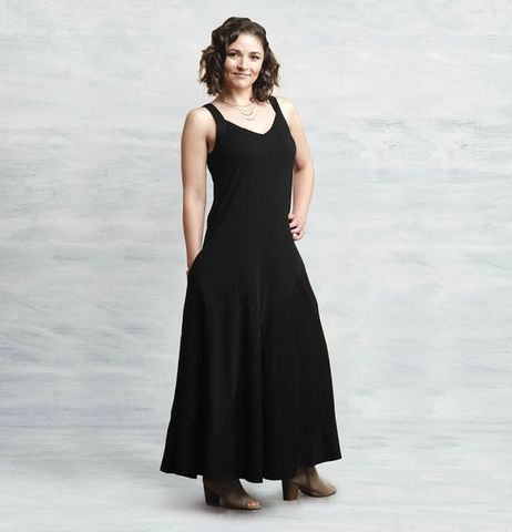 Black Organic Cotton Sleeveless Dress Reversible Maggies