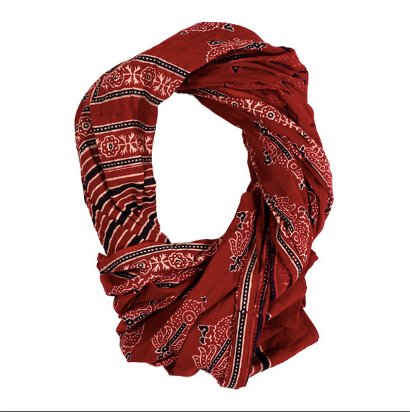 Red Cotton Voile Scarf hand block printed with black and cream