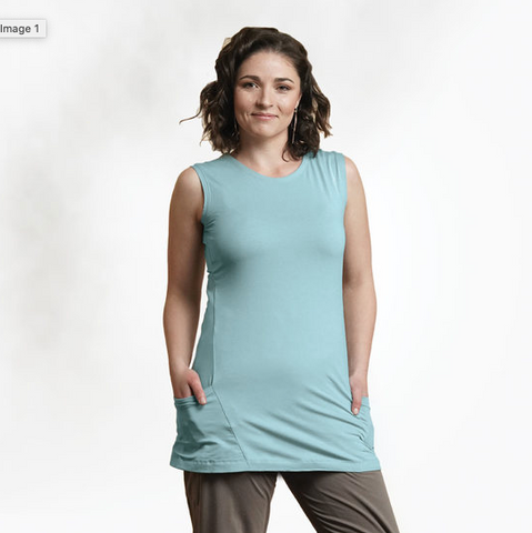Sky Organic Cotton Sleeveless Tunic, with pockets