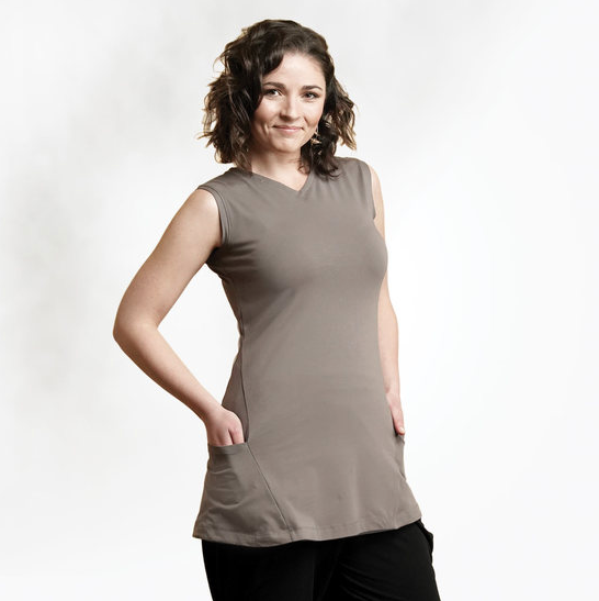 """Sable"" Organic Cotton Two-way sleeveless tunic, by Maggies"