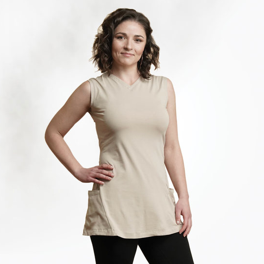 "Organic Cotton Sleeveless Tunic, Wear it two ways, in ""sand"" color, by Maggie's"