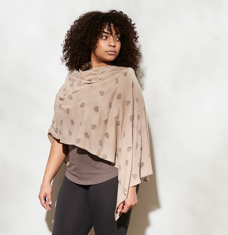 Organic Cotton Crepe Poncho - Fern Print on Sand or Black, or, Solid Black