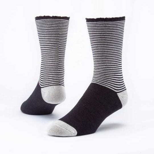 Recovery Socks - Black Striped or Black - Organic Cotton w/ Non-binding Top