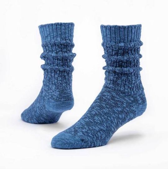 Solid Color Ragg Socks - Organic Cotton - in NAVY or PURPLE