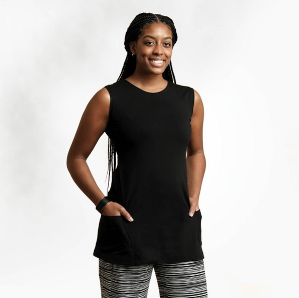 Black Organic Cotton Sleeveless Tunic, by Maggies