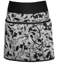 Women's organic cotton half apron, black and white print
