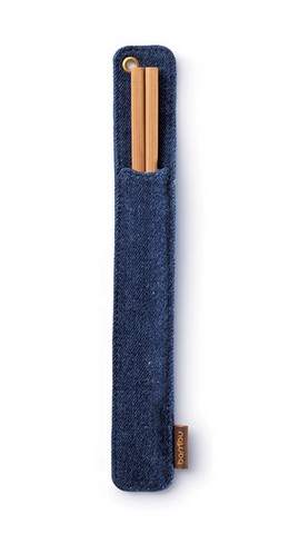 Certified Organic Bamboo Chopsticks in Hemp Denim Travel Case, Upland Road