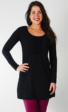 Eterna organic cotton Tunic/ Dress with pockets - Ebony Black