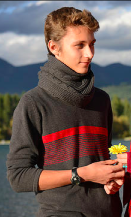 Impala Men's Organic Cotton Sweater - In 3 Colorways: Slate/Perle, Slate/Poppy, Poppy/Slate