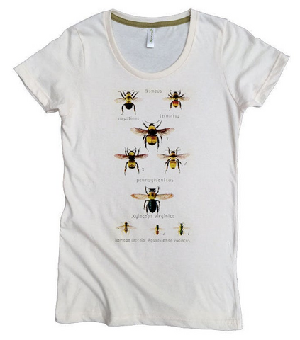 Organic Cotton Womens Bee T-shirt Illustrated