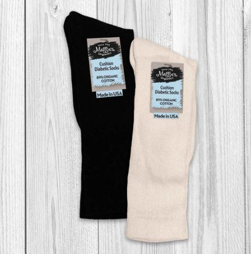 Diabetic Socks in Black or Natural - Organic Cotton