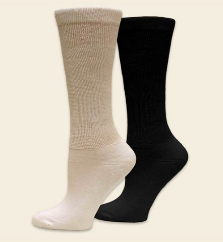 Organic Cotton Diabetic Socks in Natural or Black