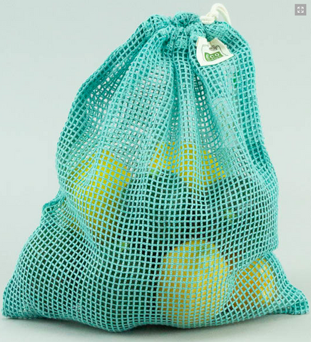 Light Blue Mesh Produce Bag Organic Cotton Drawstring