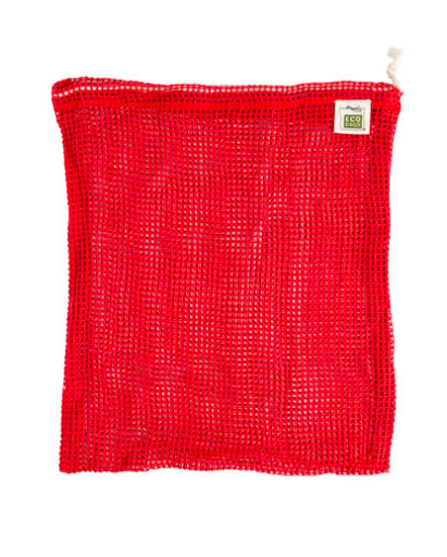 Chili Red, Medium Organic Cotton Mesh Drawstring Bag