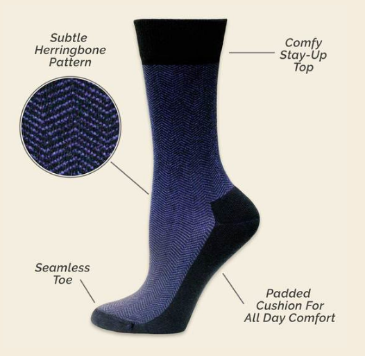 Cushion foot dress sock purple/black herringbone
