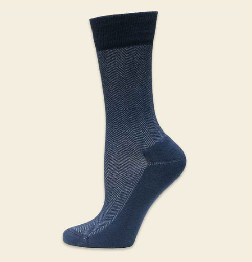 Cushion foot dress sock blue/black herringbone