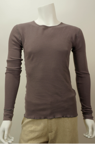 100% organic cotton mens mini waffle knit thermal brown long sleeve crew