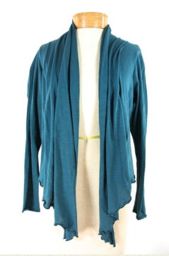 Metro Cardigan Organic Cotton Wrap, teal