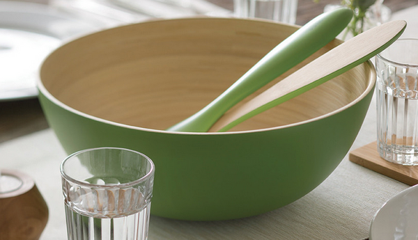 Grass Green Coiled Bamboo Salad Bowl