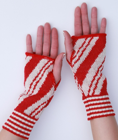 Candy Cane Peppermint Handwarmers, Recycled Cotton fingerless gloves/ mittens