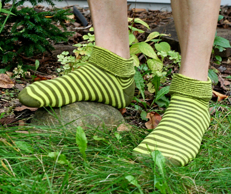 Organic Cotton Snuggle Green Striped Socks - Maggie's - Upland Road