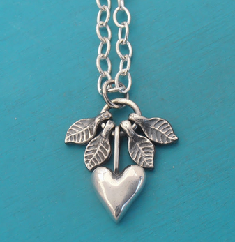Silver Heart Necklace with moving leaves - sustainable jewelry