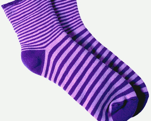 Purple Striped Organic Cotton Snuggle Socks by Maggie's Organics