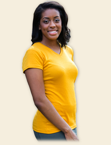 V-neck Organic Cotton Women's Tee - Butterscotch