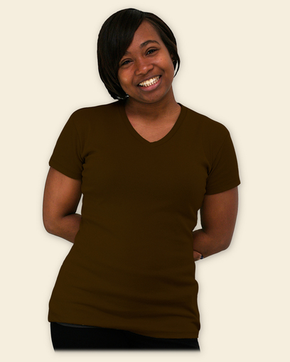 Slight V- Neck Women's organic cotton top - French Roast Brown
