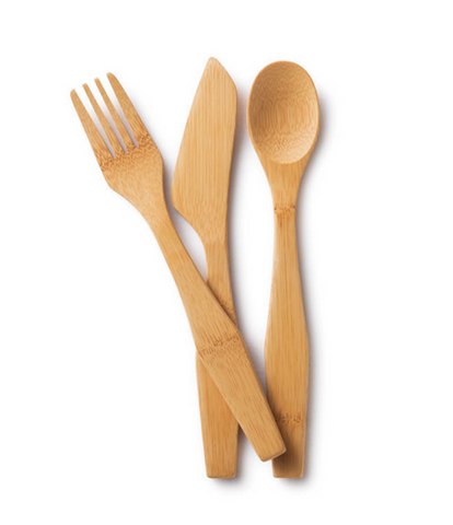 Reusable Bamboo Utensil Travel Set-comes w Sustainable Hemp Cover