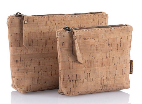 Sustainable cork zip travel pouches.