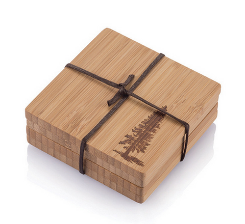 Pine Tree Bamboo Coasters - Sustainable