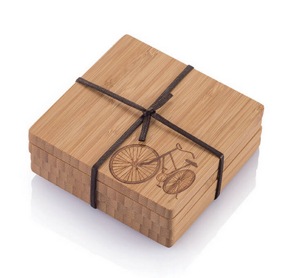 Sustainable Bamboo Coasters - Bicycle