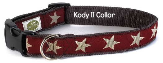 Kody II Red Hemp Dog Collar with White Stars
