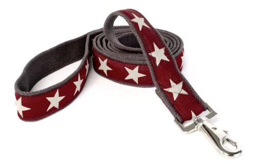 Kody II Red Hemp Dog Leash with White Stars
