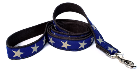 Kody III Blue Hemp Dog Leash with White Stars, earthdog | Upland Road