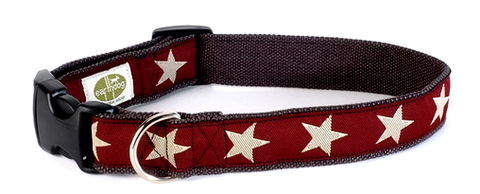 Kody II Red Hemp Decorative Dog Collar with White Stars