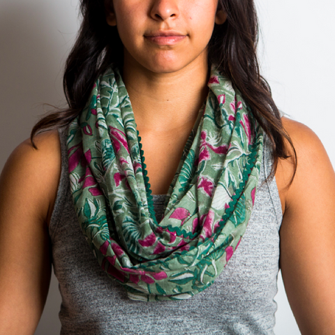 Botanical Block Print Infinity Scarves - in 3 Prints