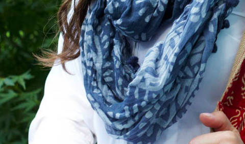Batik Pom Infinity Scarves - in Blue or Green